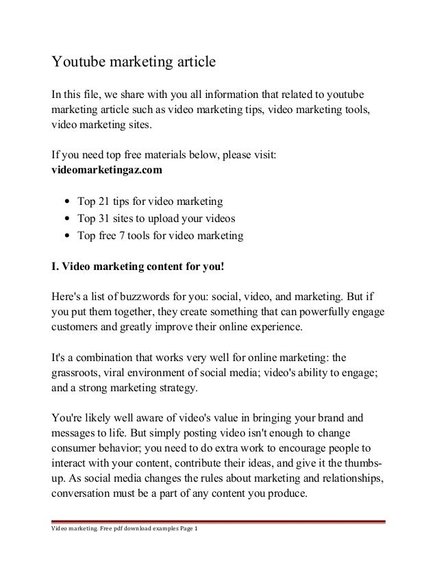 article relating to marketing
