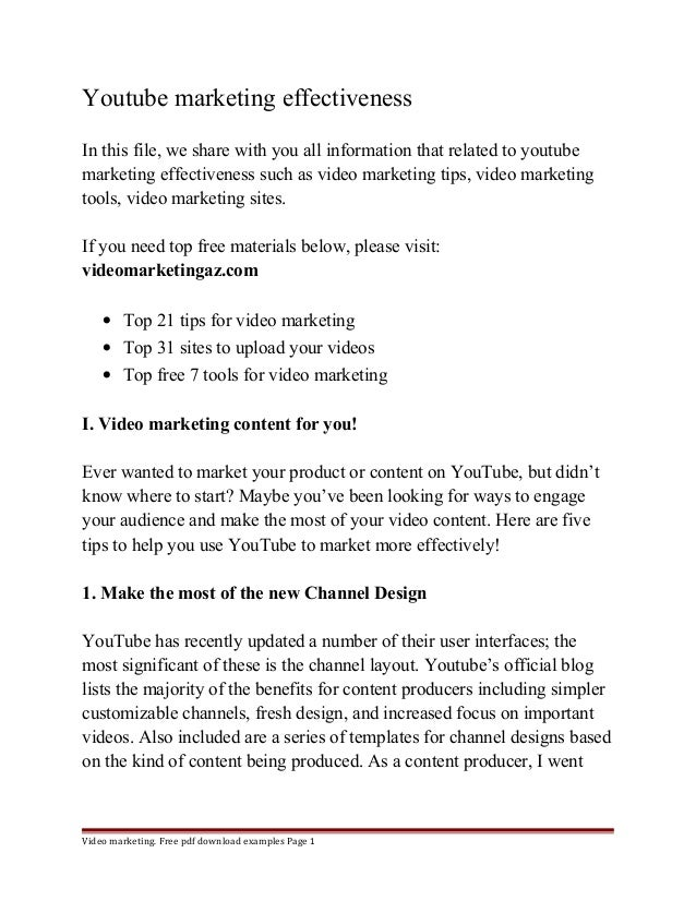 Youtube marketing effectiveness  In this file, we share with you all information that related to youtube  marketing effect...