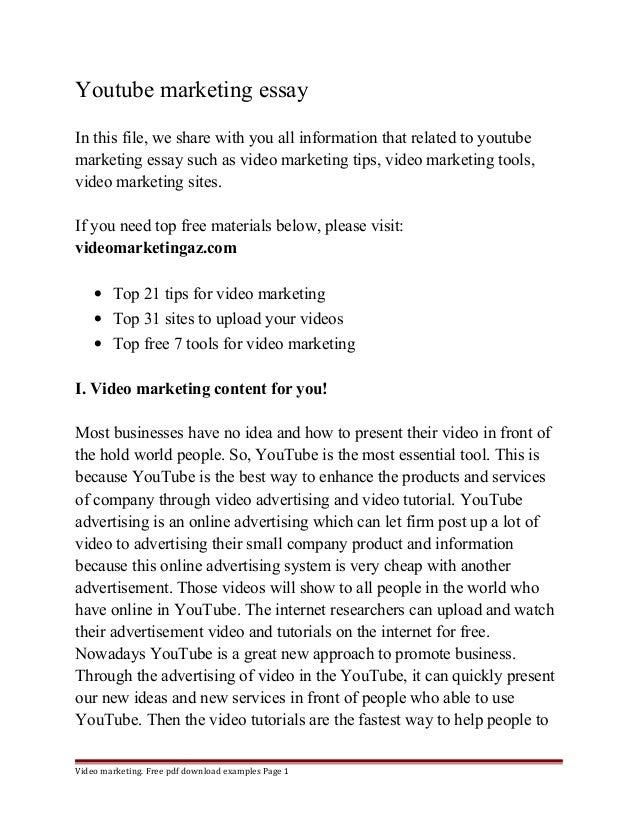 Essay On Wealth Youtube Marketing Essay In This File We Share With You All Information  That Related To  Essays On The Enlightenment also Cause And Effect Essay Definition Youtubemarketingessayjpgcb My Favorite Song Essay