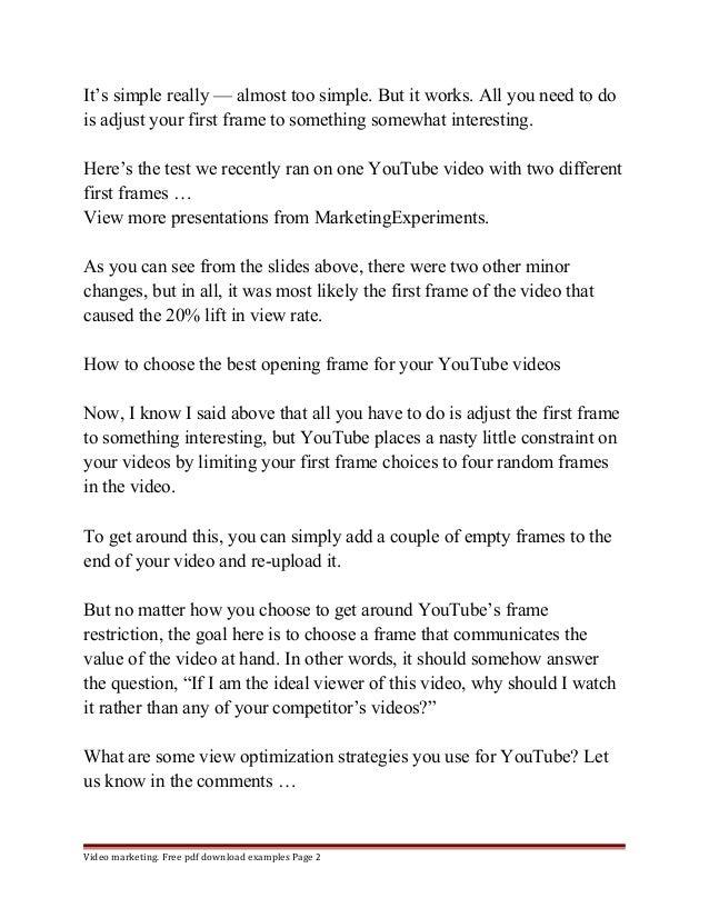 Youtube marketing experiments