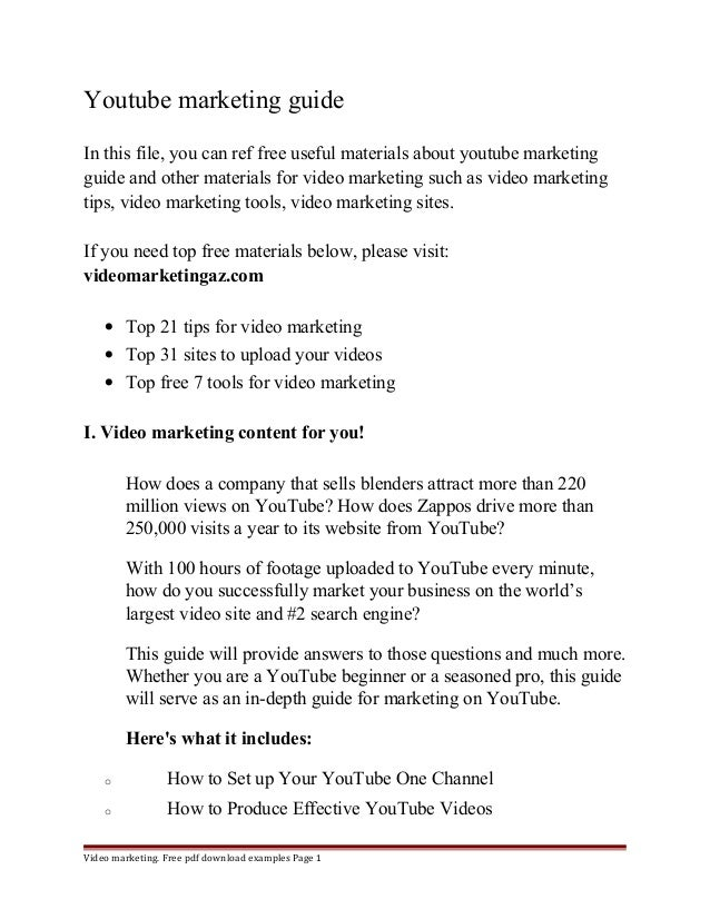 Youtube marketing guide  In this file, you can ref free useful materials about youtube marketing  guide and other material...