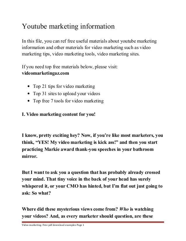 Youtube marketing information