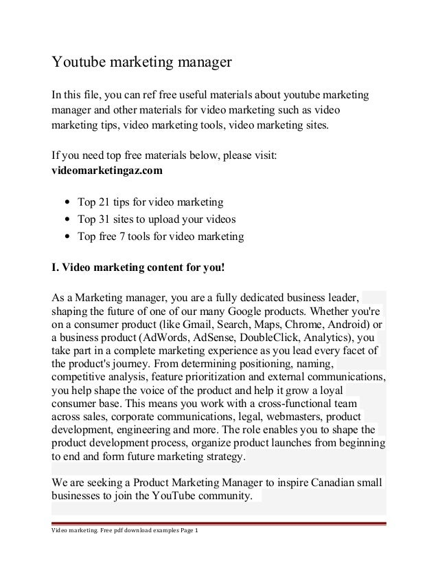Youtube marketing manager  In this file, you can ref free useful materials about youtube marketing  manager and other mate...