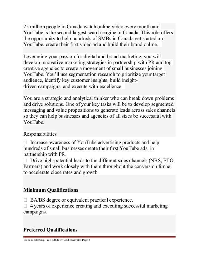 Youtube marketing manager Slide 2