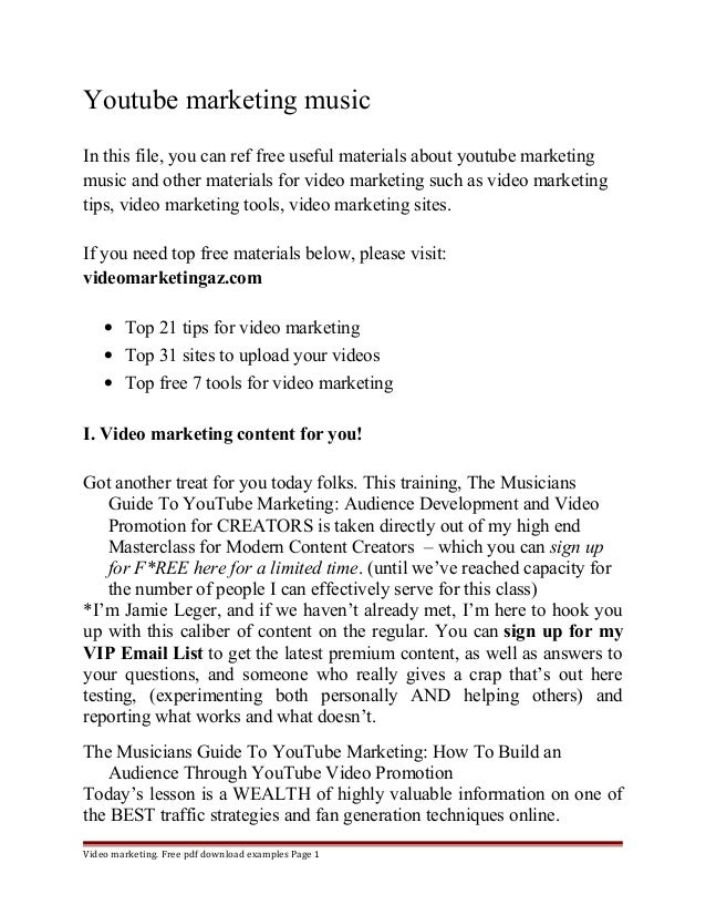 Youtube marketing music  In this file, you can ref free useful materials about youtube marketing  music and other material...