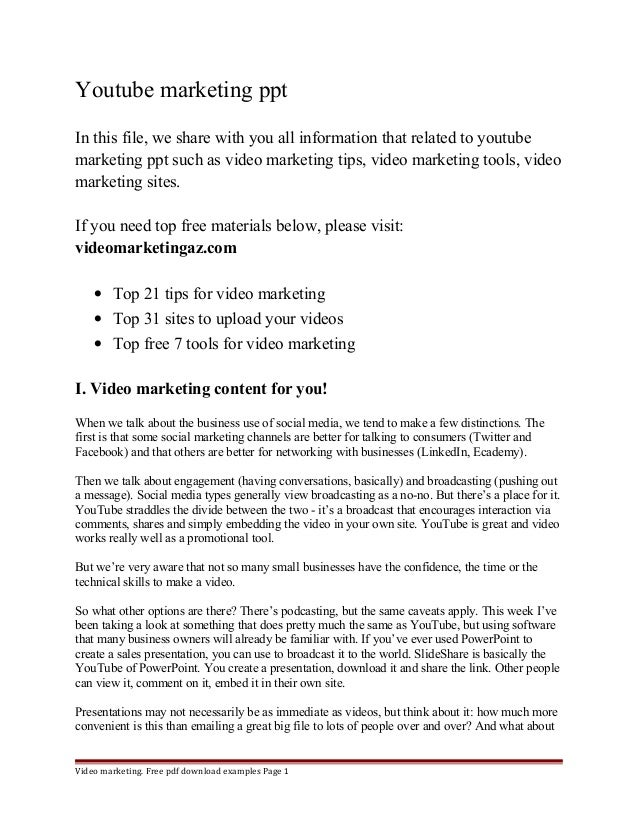 Youtube marketing ppt  In this file, we share with you all information that related to youtube  marketing ppt such as vide...