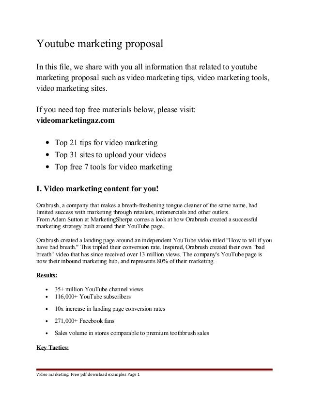 Youtube marketing proposal for Sponsorship marketing plan template