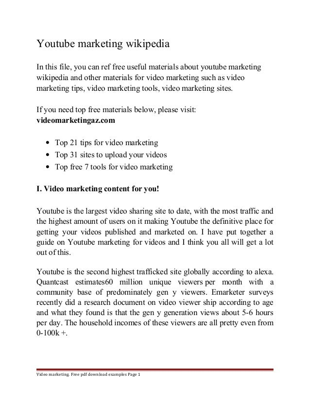 Youtube marketing wikipedia  In this file, you can ref free useful materials about youtube marketing  wikipedia and other ...