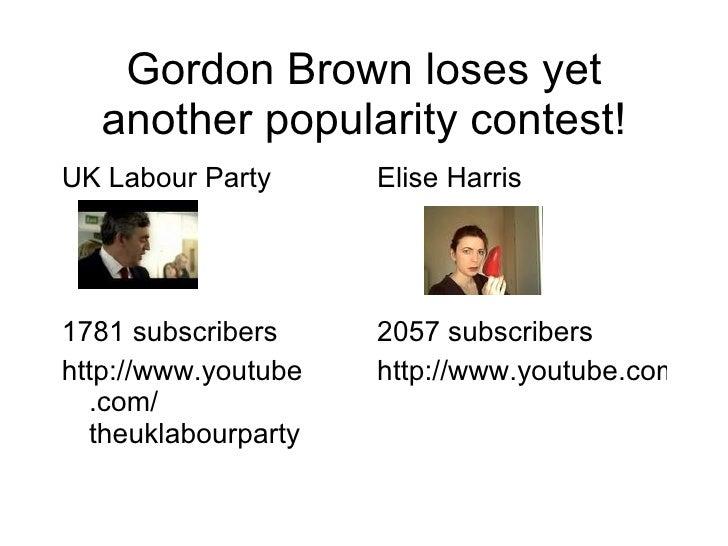 Gordon Brown loses yet another popularity contest! <ul><li>UK Labour Party </li></ul><ul><li>1781 subscribers </li></ul><u...