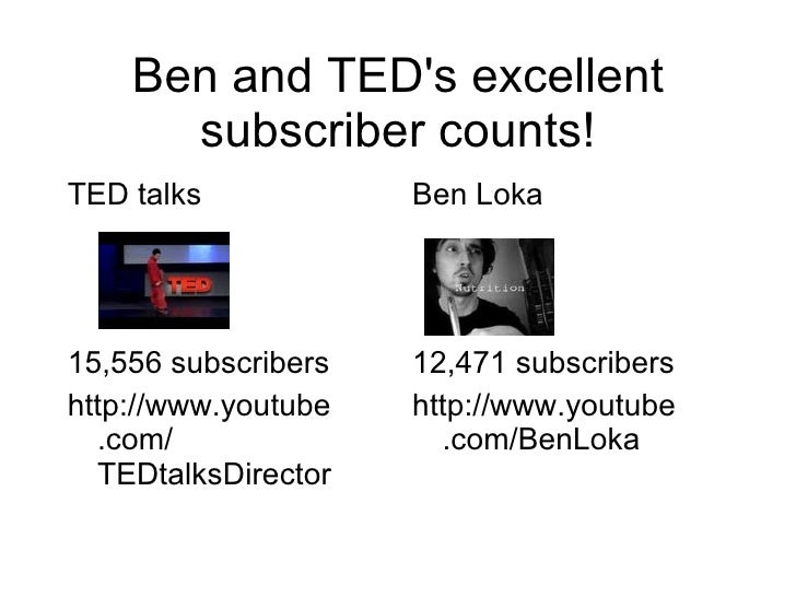 Ben and TED's excellent subscriber counts! <ul><li>TED talks </li></ul><ul><li>15,556 subscribers </li></ul><ul><li>http:/...