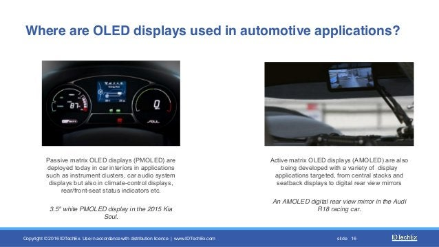 Copyright © 2016 IDTechEx. Use in accordance with distribution licence | www.IDTechEx.com slide 16 Passive matrix OLED dis...