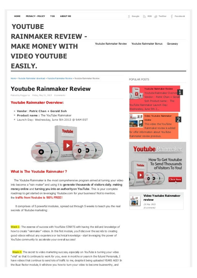 HOME PRIVACY - POLICY TOS ABOUT ME FacebookTwitterRSSGoogleHome » Youtube Rainmaker download » Youtube Rainmaker Review » ...