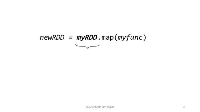 Copyright 2014 Tony Duarte 2 newRDD = myRDD.map(myfunc)
