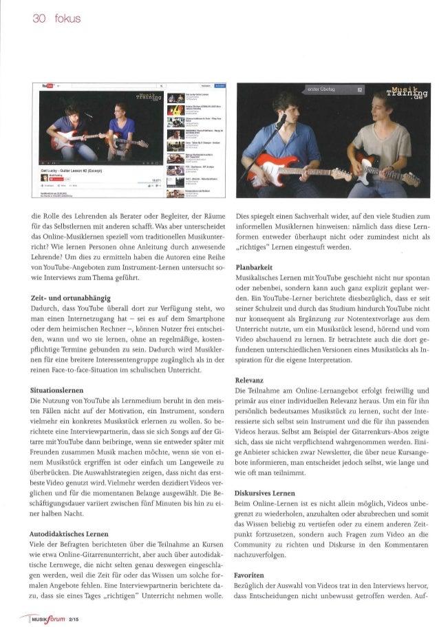 Musiklernen mit Youtube: Unrichtiger Unterricht? // MusikForum 2/2015 Slide 3