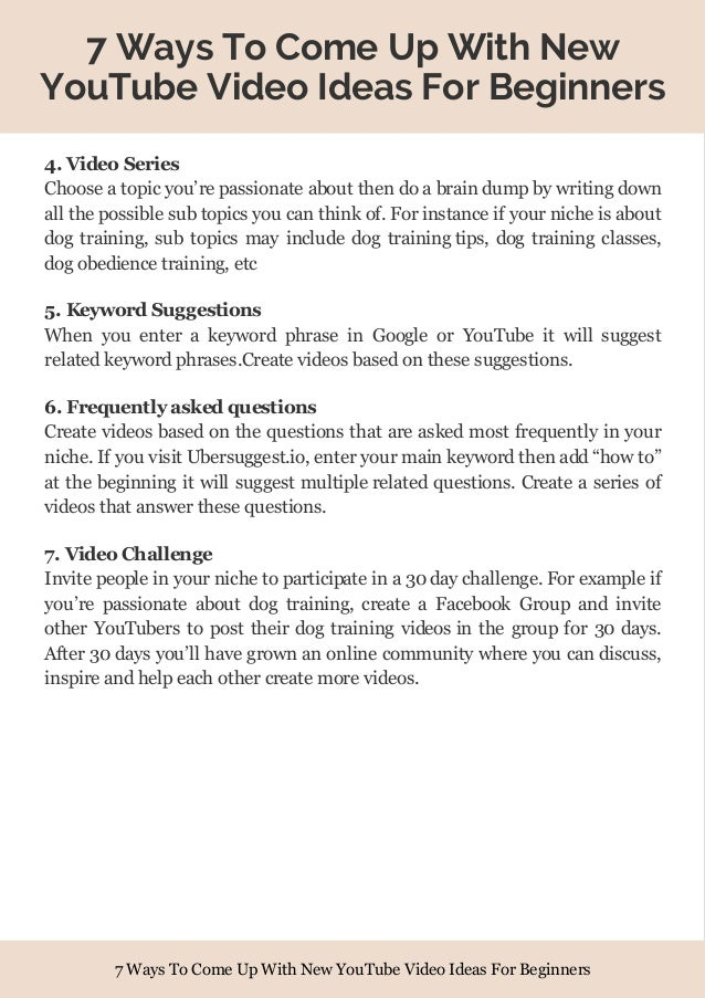 7 Ways To Come Up With New YouTube Video Ideas