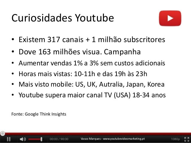 Curiosidades Youtube • Existem 317 canais + 1 milhão subscritores • Dove 163 milhões visua. Campanha • • • •  Aumentar ven...