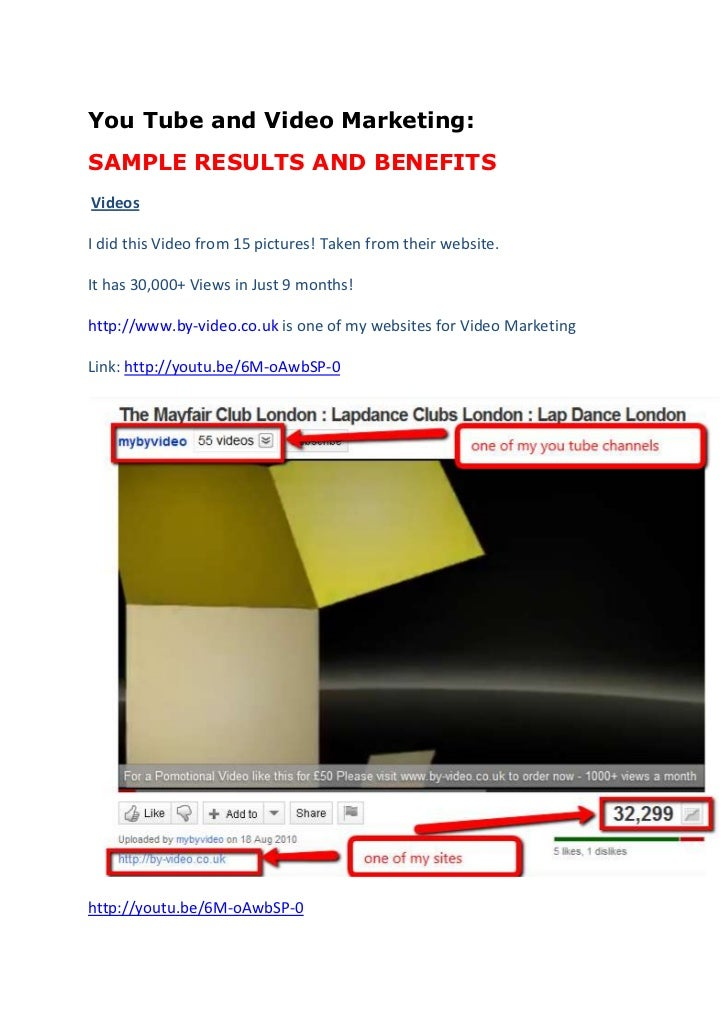 You Tube and Video Marketing:<br />SAMPLE RESULTS AND BENEFITS<br />Videos<br />I did this Video from 15 pictures! Taken ...