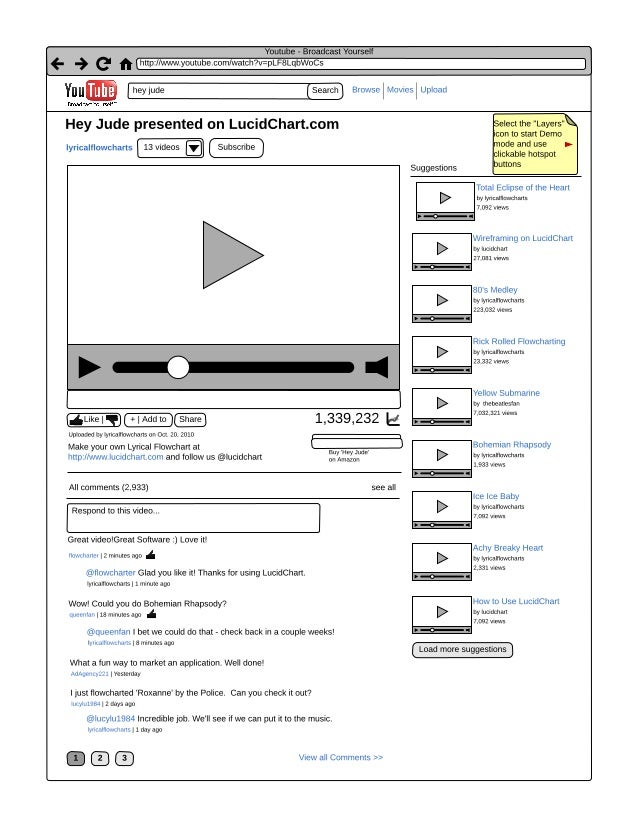 Youtube wireframe