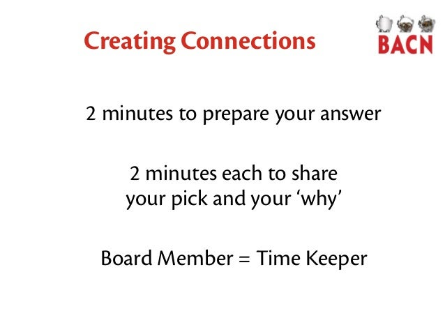 Creating Connections 2 minutes to prepare your answer 2 minutes each to share your pick and your 'why' Board Member = Time...