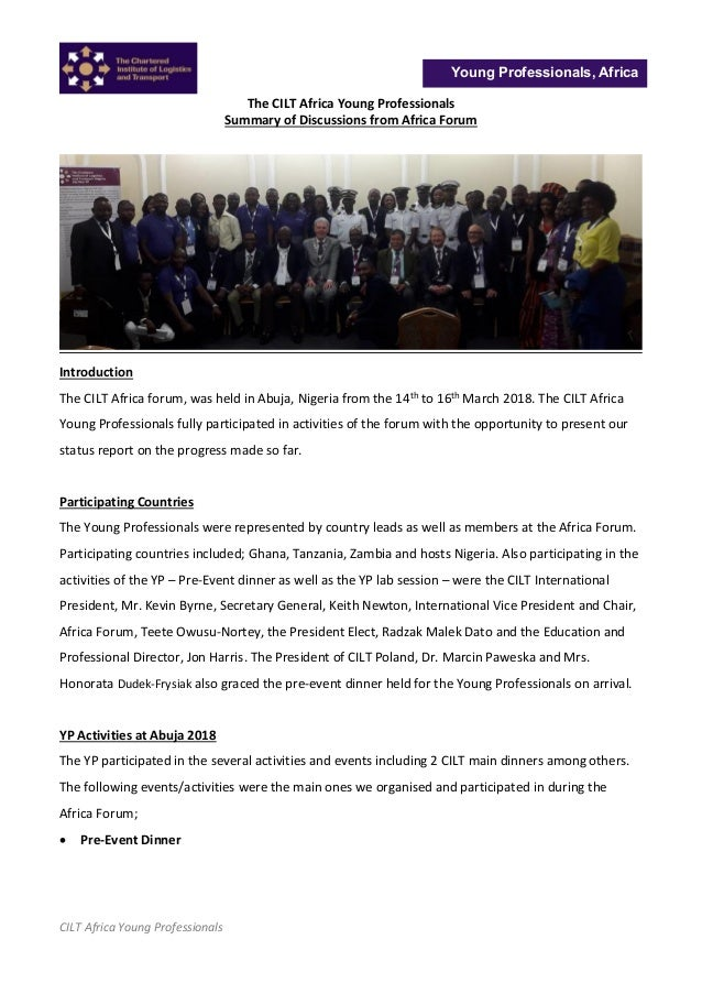 CILT Africa Young Professionals Young Professionals, Africa The CILT Africa Young Professionals Summary of Discussions fro...