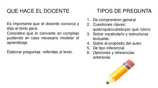 QUE HACE EL DOCENTE Es importante que el docente conozca y elija el texto para: Considere que lo convierte en complejo pud...