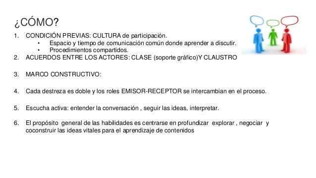 ¿CÓMO? 1. CONDICIÓN PREVIAS: CULTURA de participación. • Espacio y tiempo de comunicación común donde aprender a discutir....