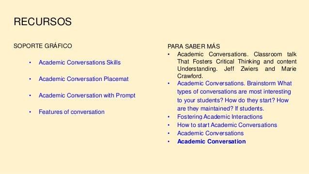 RECURSOS SOPORTE GRÁFICO • Academic Conversations Skills • Academic Conversation Placemat • Academic Conversation with Pro...