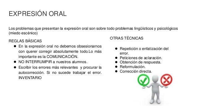 EXPRESIÓN ORAL Los problemas que presentan la expresión oral son sobre todo problemas lingüísticos y psicológicos (miedo e...