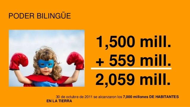 PODER BILINGÜE 1,500 mill. + 559 mill. 2,059 mill. 30 de octubre de 2011 se alcanzaron los 7,000 millones DE HABITANTES EN...
