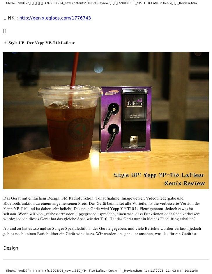 Style UP! Der Yepp YP-T10 Lafleur     Das Gerät mit einfachem Design, FM Radiofunktion, Tonaufnahme, Imageviewer, Videowie...