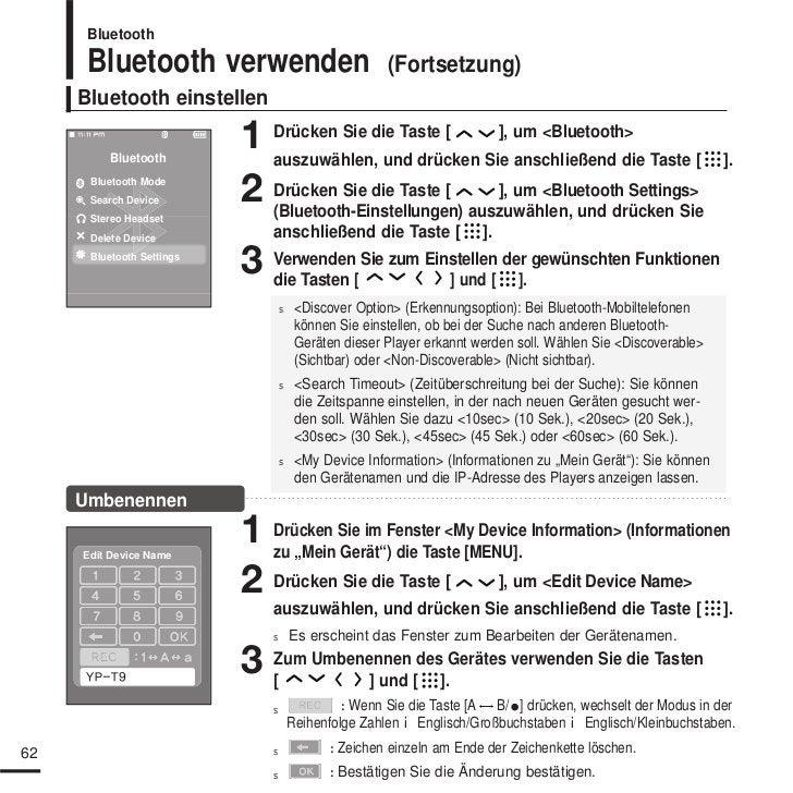 Samsung YP-S9 Benutzerhandbuch