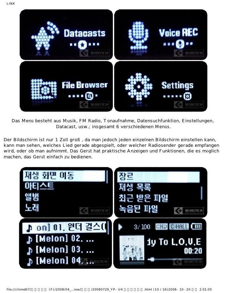 LINK   Das Menü besteht aus Musik, FM Radio, Tonaufnahme, Datensuchfunktion, Einstellungen,                     Datacast, ...