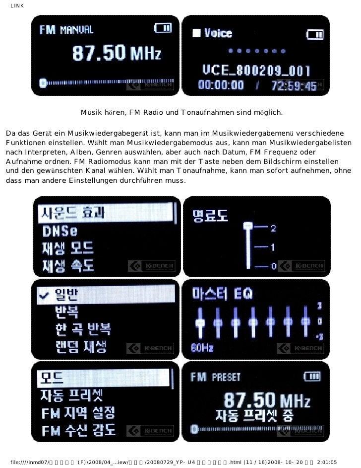 LINK                      Musik hören, FM Radio und Tonaufnahmen sind möglich.Da das Gerät ein Musikwiedergabegerät ist, k...