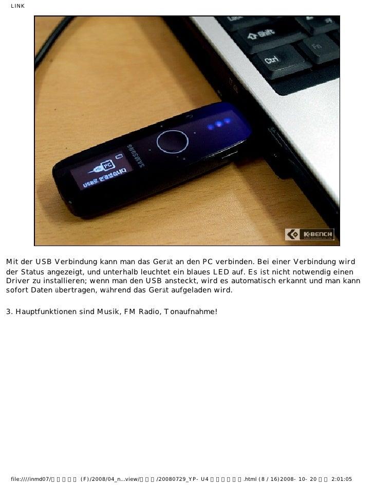 LINKMit der USB Verbindung kann man das Gerät an den PC verbinden. Bei einer Verbindung wirdder Status angezeigt, und unte...