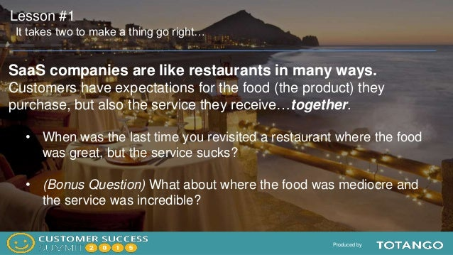 Produced by SaaS companies are like restaurants in many ways. Customers have expectations for the food (the product) they ...