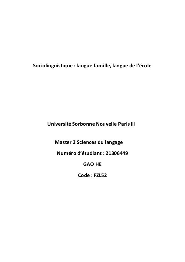 Sociolinguistique : langue famille, langue de l'école Université Sorbonne Nouvelle Paris III Master 2 Sciences du langage ...