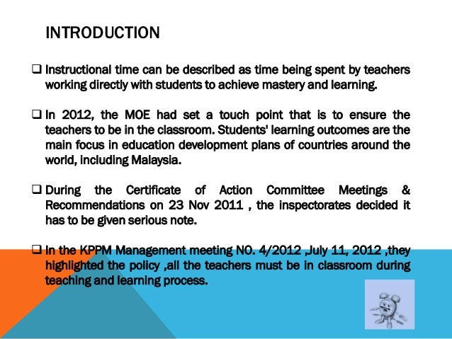 Policy and Educational Planning.Protecting Instructional Time Slide 2