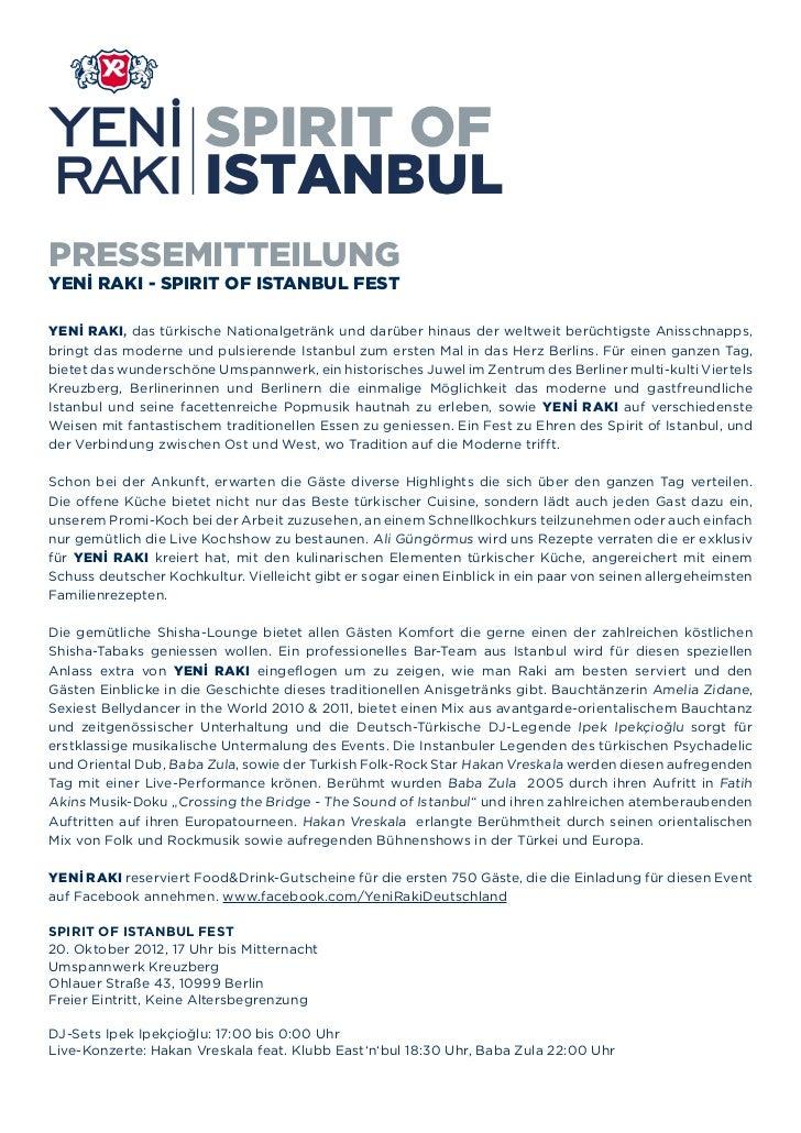 SPIRIT OF                       ISTANBULPRESSEMITTEILUNGYENİ RAKI - SPIRIT OF ISTANBUL FESTYENİ RAKI, das türkische Nation...