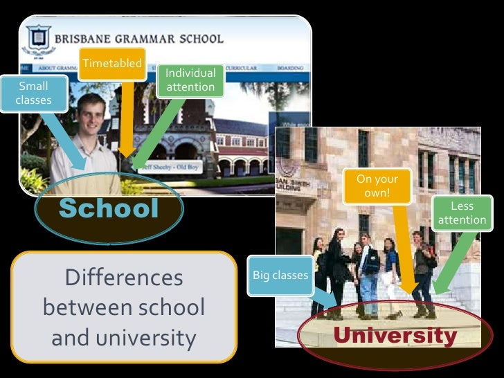 Differences between school and university<br />