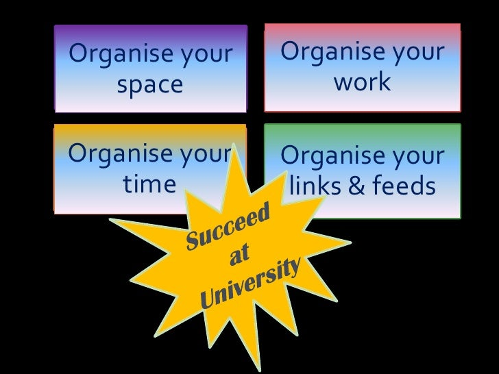 Organise your work<br />Organise your space<br />Organise your time<br />Organise your links & feeds<br />Succeed at Unive...