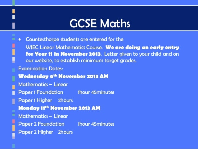 wjec mark scheme linear maths november 2013