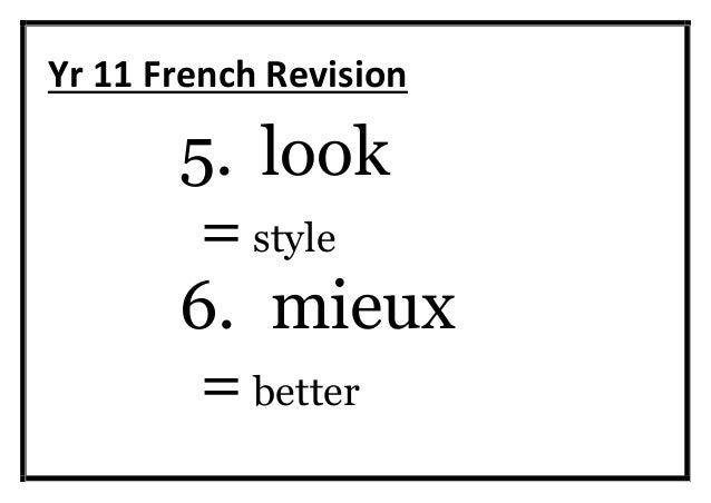 Yr 11 French revision words GCSE Slide 3
