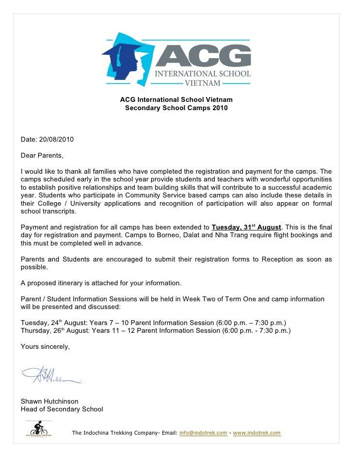 ACG International School Vietnam                                      Secondary School Camps 2010    Date: 20/08/2010  Dea...
