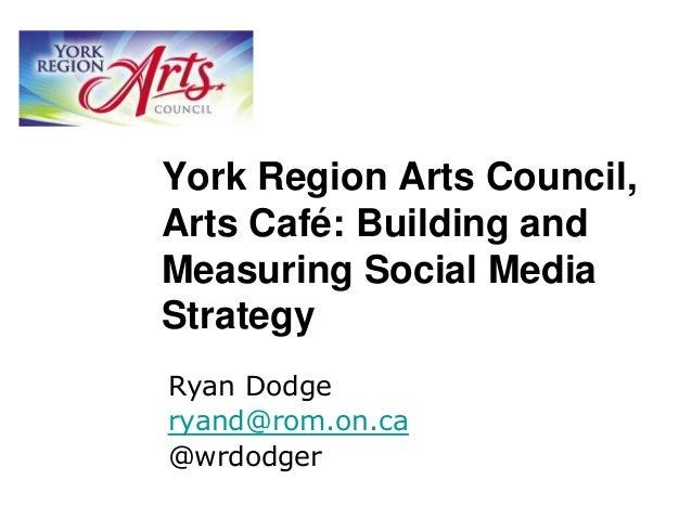 York Region Arts Council, Arts Café: Building and Measuring Social Media Strategy Ryan Dodge ryand@rom.on.ca @wrdodger