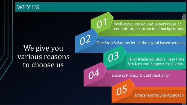 WHY US We give you various reasons to choose us Well experienced and expert team of consultants from various backgrounds. ...