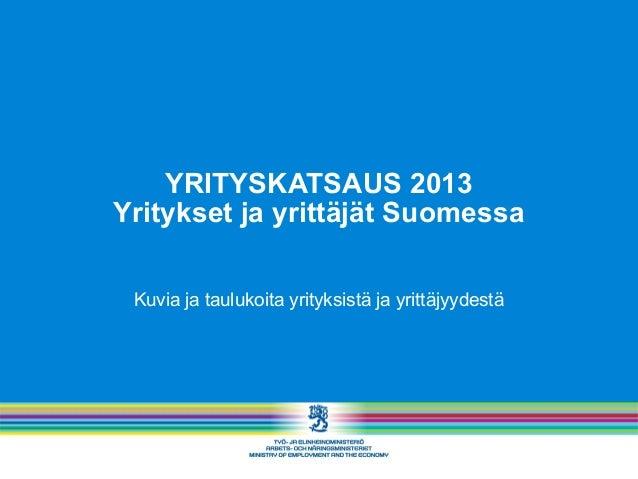 YRITYSKATSAUS 2013 Yritykset ja yrittäjät Suomessa Kuvia ja taulukoita yrityksistä ja yrittäjyydestä