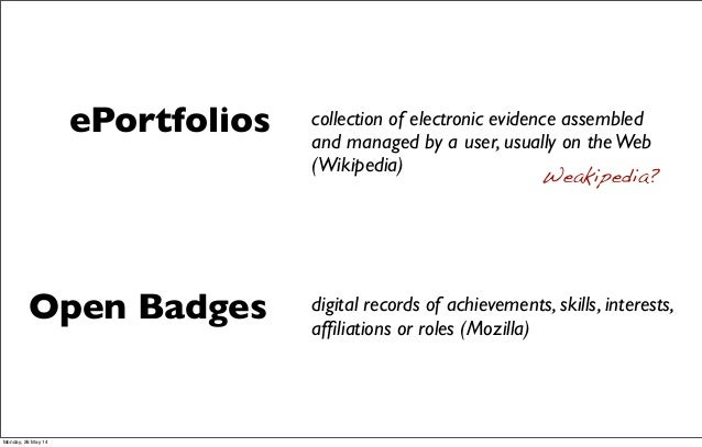 digital records of achievements, skills, interests, affiliations or roles (Mozilla) Open Badges ePortfolios collection of e...