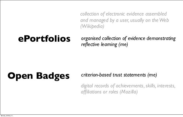 digital records of achievements, skills, interests, affiliations or roles (Mozilla) Open Badges ePortfolios organised colle...