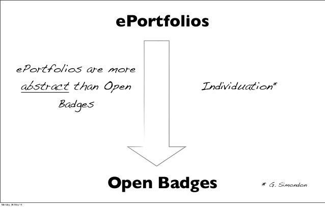 Open Badges ePortfolios Individuation* * G. Simondon ePortfolios are more abstract than Open Badges Monday, 26 May 14