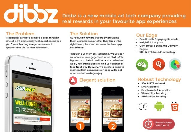 Dibbz is a new mobile ad tech company providing  real rewards in your favourite app experiences  Round closes  16th Jan '1...